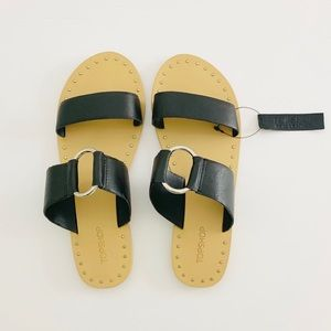 Top shop Black Ring Slides